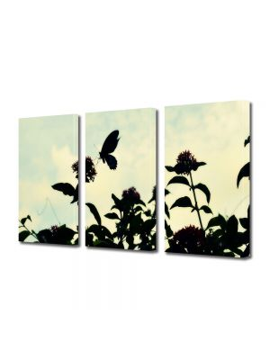 Set Tablouri Muilticanvas 3 Piese Vintage Aspect Retro Fluture in lumina serii