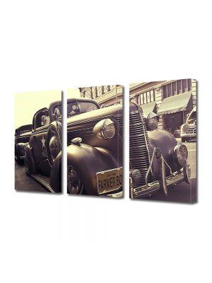 Set Tablouri Muilticanvas 3 Piese Vintage Aspect Retro Masina de epoca in sepia