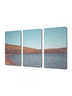 Set Tablouri Muilticanvas 3 Piese Vintage Aspect Retro Padure si lac toamna