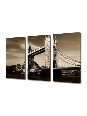 Set Tablouri Muilticanvas 3 Piese Vintage Aspect Retro Tower Bridge in Londra