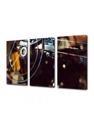 Set Tablouri Muilticanvas 3 Piese Vintage Aspect Retro Auto retro