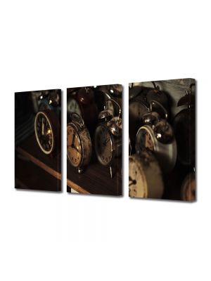 Set Tablouri Muilticanvas 3 Piese Vintage Aspect Retro Timpul ce a fost
