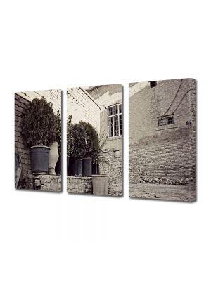 Set Tablouri Muilticanvas 3 Piese Vintage Aspect Retro Ziduri de piatra