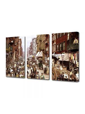 Set Tablouri Muilticanvas 3 Piese Vintage Aspect Retro Orasul vechi New York
