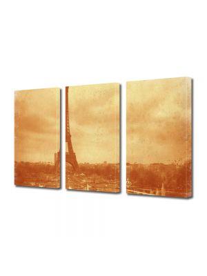 Set Tablouri Muilticanvas 3 Piese Vintage Aspect Retro Vedere Turnul Eiffel