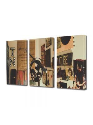 Set Tablouri Muilticanvas 3 Piese Vintage Aspect Retro Studio de inregistrari