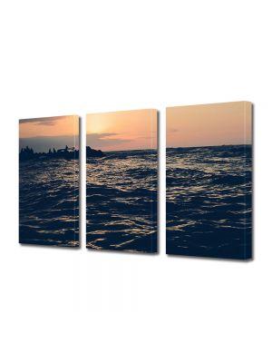 Set Tablouri Muilticanvas 3 Piese Vintage Aspect Retro Apus peste mare
