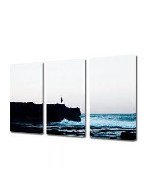 Set Tablouri Muilticanvas 3 Piese Vintage Aspect Retro Dimineata la mare
