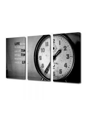 Set Tablouri Muilticanvas 3 Piese Vintage Aspect Retro Timpul e pretios