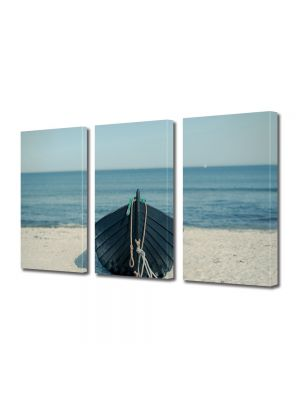 Set Tablouri Muilticanvas 3 Piese Vintage Aspect Retro Barcuta pe plaja