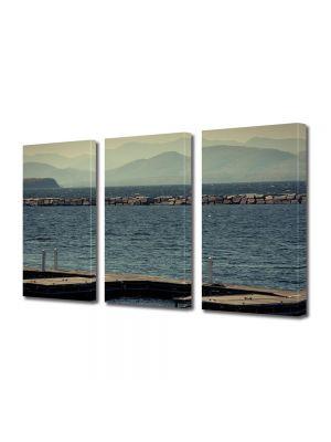 Set Tablouri Muilticanvas 3 Piese Vintage Aspect Retro Vedere spre lac