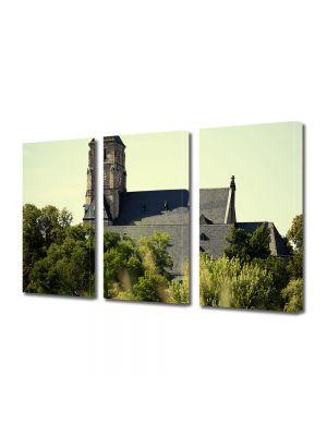 Set Tablouri Muilticanvas 3 Piese Vintage Aspect Retro Dealul bisericii