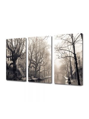Set Tablouri Muilticanvas 3 Piese Vintage Aspect Retro Canal in ceata diminetii
