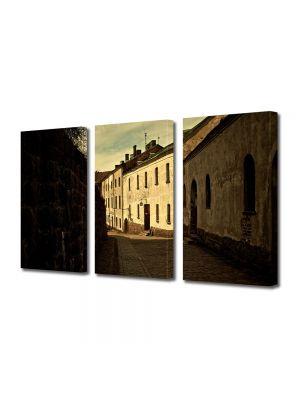 Set Tablouri Muilticanvas 3 Piese Vintage Aspect Retro Straduta in oras medieval