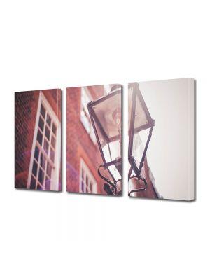 Set Tablouri Muilticanvas 3 Piese Vintage Aspect Retro Lampa de strada