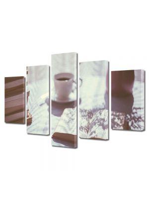 Set Tablouri Muilticanvas 5 Piese Vintage Aspect Retro Dimineata perfecta