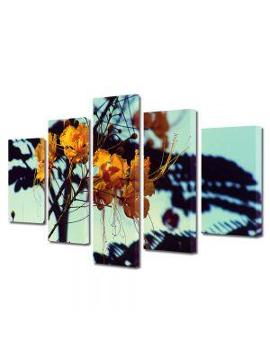 Set Tablouri Muilticanvas 5 Piese Vintage Aspect Retro Flori galbene