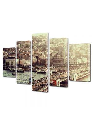 Set Tablouri Muilticanvas 5 Piese Vintage Aspect Retro Pod in Istanbul
