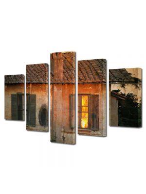 Set Tablouri Muilticanvas 5 Piese Vintage Aspect Retro Casa veche