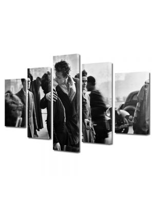 Set Tablouri Muilticanvas 5 Piese Vintage Aspect Retro Sarutul alb-negru