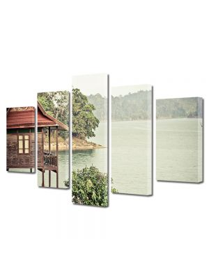 Set Tablouri Muilticanvas 5 Piese Vintage Aspect Retro Cabana pe lac
