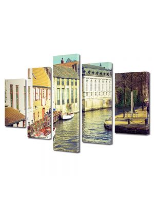 Set Tablouri Muilticanvas 5 Piese Vintage Aspect Retro Casute langa canal