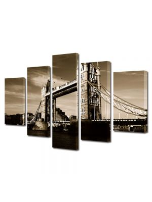 Set Tablouri Muilticanvas 5 Piese Vintage Aspect Retro Tower Bridge in Londra