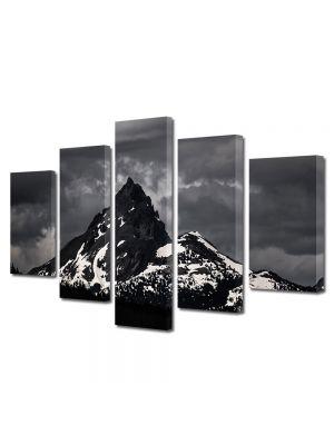 Set Tablouri Muilticanvas 5 Piese Vintage Aspect Retro Nori de furtuna pe munte