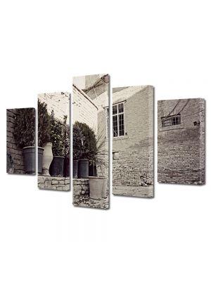 Set Tablouri Muilticanvas 5 Piese Vintage Aspect Retro Ziduri de piatra