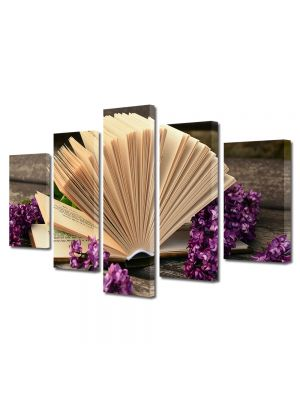 Set Tablouri Muilticanvas 5 Piese Vintage Aspect Retro Carte deschisa si floricele