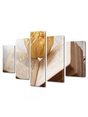 Set Tablouri Muilticanvas 5 Piese Vintage Aspect Retro Carte deschisa cu floare galbena