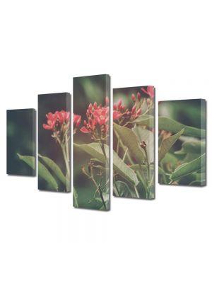 Set Tablouri Muilticanvas 5 Piese Vintage Aspect Retro Flori de padure