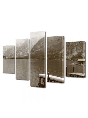 Set Tablouri Muilticanvas 5 Piese Vintage Aspect Retro Lac montan in sepia