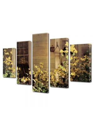 Set Tablouri Muilticanvas 5 Piese Vintage Aspect Retro Flori de gradina