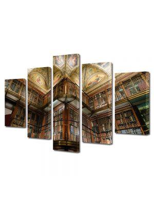 Set Tablouri Muilticanvas 5 Piese Vintage Aspect Retro Biblioteca moderna
