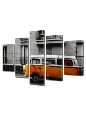 Set Tablouri Muilticanvas 5 Piese Vintage Aspect Retro Masinuta portocalie