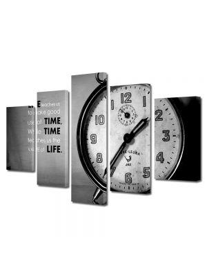 Set Tablouri Muilticanvas 5 Piese Vintage Aspect Retro Timpul e pretios