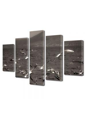 Set Tablouri Muilticanvas 5 Piese Vintage Aspect Retro Stol de pescarusi