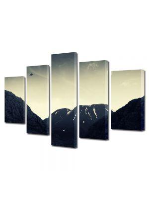 Set Tablouri Muilticanvas 5 Piese Vintage Aspect Retro OZN peste munti