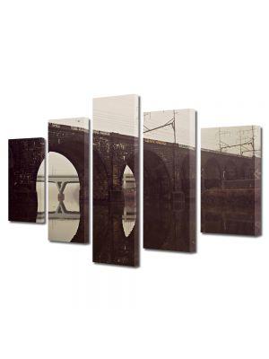 Set Tablouri Muilticanvas 5 Piese Vintage Aspect Retro Pod de cale ferata