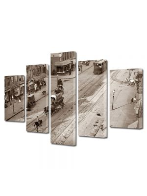 Set Tablouri Muilticanvas 5 Piese Vintage Aspect Retro Viata orasului vechi