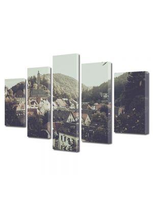 Set Tablouri Muilticanvas 5 Piese Vintage Aspect Retro Satuc intre dealuri