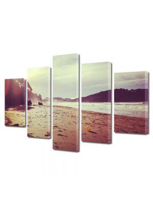 Set Tablouri Muilticanvas 5 Piese Vintage Aspect Retro Plaja in lumina soarelui