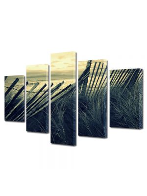 Set Tablouri Muilticanvas 5 Piese Vintage Aspect Retro Gard de lemn pe plaja