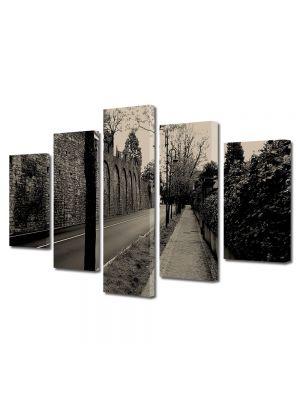 Set Tablouri Muilticanvas 5 Piese Vintage Aspect Retro Strada pustie