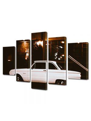 Set Tablouri Muilticanvas 5 Piese Vintage Aspect Retro Masina vintage alba