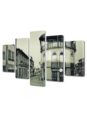 Set Tablouri Muilticanvas 5 Piese Vintage Aspect Retro Oras vechi francez