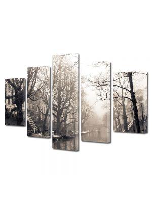 Set Tablouri Muilticanvas 5 Piese Vintage Aspect Retro Canal in ceata diminetii