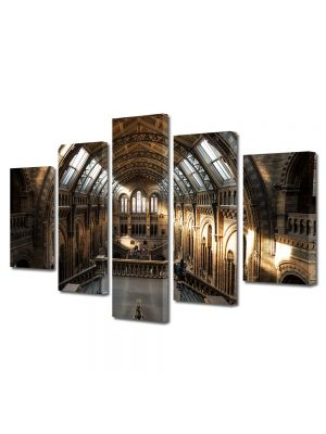 Set Tablouri Muilticanvas 5 Piese Vintage Aspect Retro Vedere in muzeul britanic