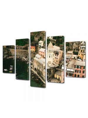 Set Tablouri Muilticanvas 5 Piese Vintage Aspect Retro Orasel in Italia
